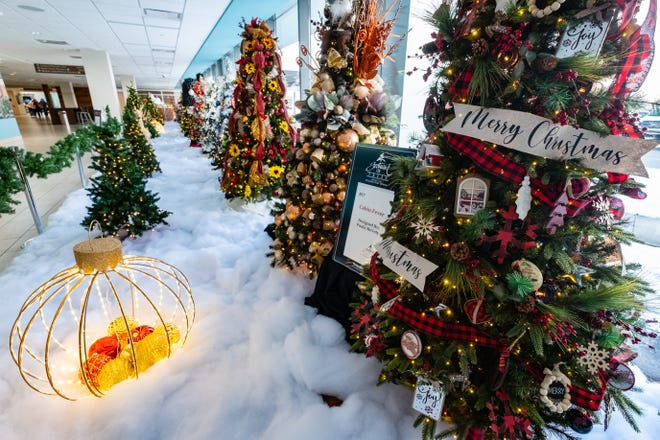 Decorated Christmas trees are set up in the lobby of McLaren Port Huron for this year's Festival of Trees. The hospital is closed to visitors, but people can still view them through the windows.