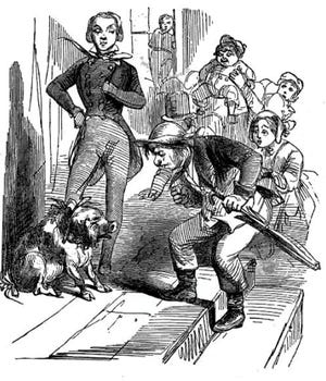 A drawing of a pig and people