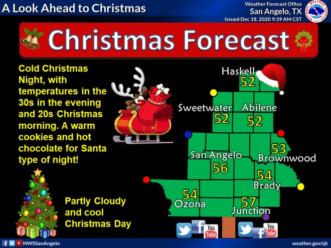 Christmas forecast from the National Weather Service.