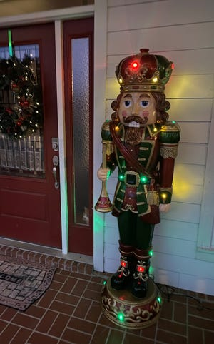 This six-foot nutcracker will welcome guests to Gary Yordon's porch. Next year.