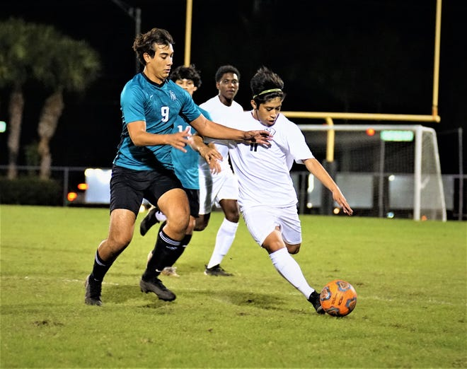 Jensen Beach's AJ Tovar netted the match-winner in a 2-1 victory over Clewiston on Friday, Feb. 5, 2021 to send the Falcons into the District 13-4A title match Tuesday against North Broward Prep. Jensen Beach secured a spot in the state tournament with their semifinal triumph.