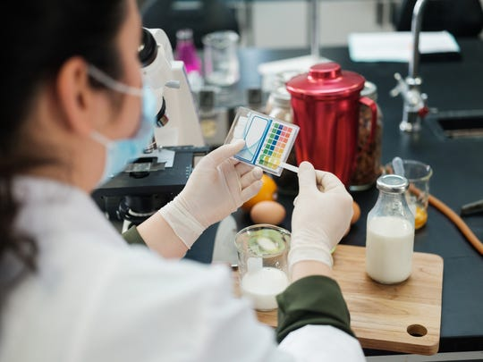 A scientist examines different foods in a laboratory.