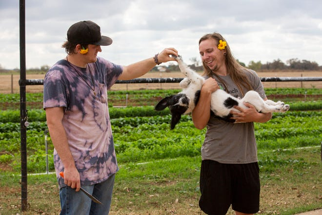 From left, residents Devin Goodman, 22, and Chris Weber, 29, play with a puppy while at Simple Promise Farms in Elgin, Texas on Friday, Nov. 13, 2020.