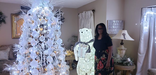 Helen Walker in her formal living area at her home in Ardmore. Walker decorates every room in her home with themed decor every Christmas.