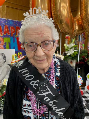 Canoe Brook Ardmore Assisted Living resident Velma Peery at her 100th birthday party on Friday. At 100 years old Peery still participates in every activity and enjoys arts and crafts, singing and bingo.