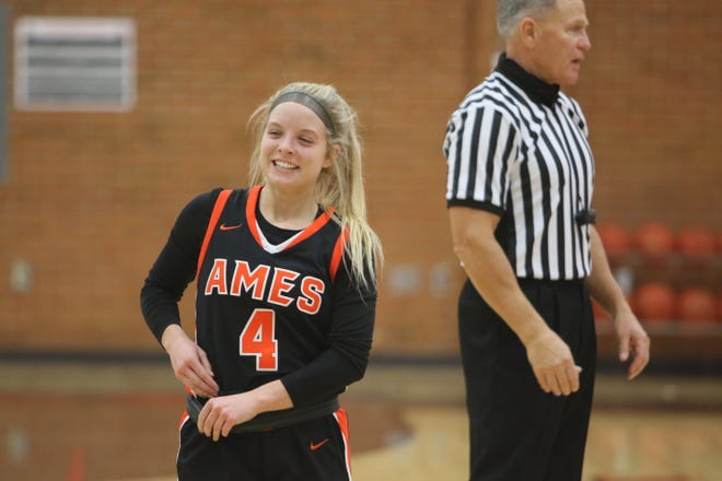 Ames senior Caroline Waite had plenty of reasons to smile during the Little Cyclones game at Mason City Friday. Waite became Ames' all-time leading scorer with 1,240 and also set the school single-game scoring mark with 38 points. Her efforts led the No. 11 Little Cyclones to a 74-57 victory over the Mohawks.