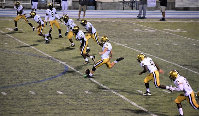 North Augusta rising senior Drew Stevens (18) committed to play football for the University of Iowa on Monday. A highly sought-after kicker, Stevens also received interest from other Division-I programs.