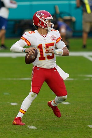 Kansas City Chiefs quarterback Patrick Mahomes looks to pass against the Dolphins last Sunday.