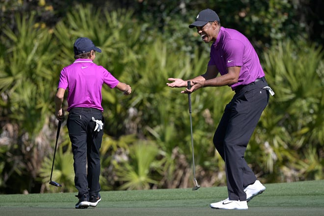 """""""I don't really care about my game,"""" Tiger Woods said. """"I'm just making sure that Charlie has the time of his life. And he's doing that."""""""