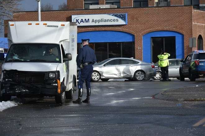 A Massachusett State Police trooper was brought to Cape Cod Hospital with injuries from a crash on Route 28 near Yarmouth Road in Hyannis on Saturday morning.