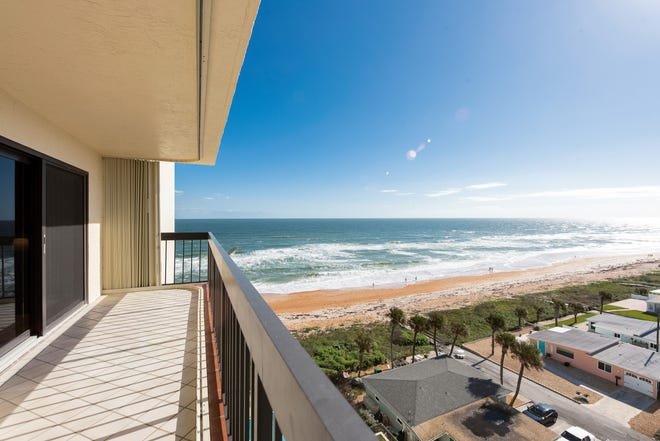 This furnished southeast-facing condo in The Ormondy, which is located on a no-drive beach, offers ocean views from every room.