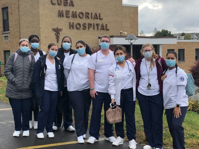 Pictured at Cuba Memorial Hospital where Alfred State College's Nursing students gained their clinical experience are, from left to right, Kess O'Brien, Nicole Konadu, Grace Norton, Lianna Chrisphonte, Camila Torres, Thomas Richard, Giavana Jurado, Arianna Wolfer, and Jazlynn Francisco.