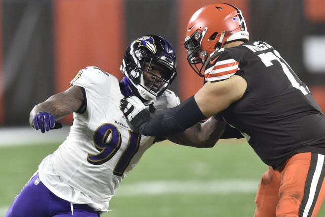 Ravens defensive end Yannick Ngakoue rushes the passer Monday against Cleveland. He takes on his former team Sunday when the Jaguars face Baltimore.