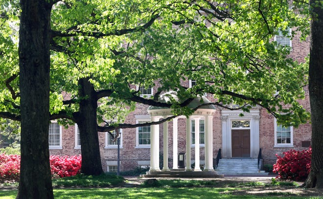 In this April 20, 2015 photo, the Old Well is seen near the South Building on campus at The University of North Carolina in Chapel Hill. (AP Photo/Gerry Broome, File)