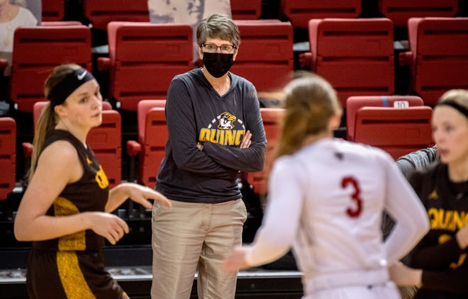 Quincy women's basketball coach Jeni Garber watches her Hawks battle Bradley on Friday, Dec. 18, 2020 at Renaissance Coliseum in Peoria. The Metamora native was an assistant coach at Bradley for 11 seasons. She is in her 10th season with Quincy.