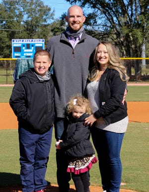 Kyle Ryan was accompanied by his wife Courtney, daughter Kynlee and son Conner during Friday's ceremony when a field was named for him at the Auburndale Youth Baseball Complex. Ryan re-signed with the Chicago Cubs in the offseason.