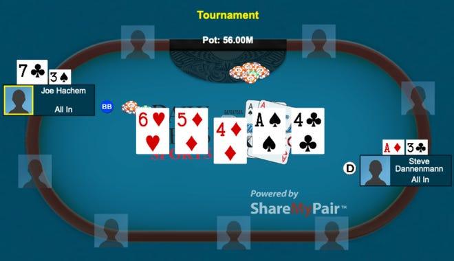 The winning hand for Australian Joe Hachem in the 2005 World Series of Poker.