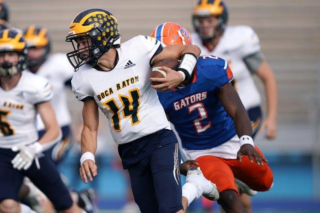 Boca Raton quarterback Jacob Cashion runs Saturday against Palm Beach Gardens in the Bobcats' 24-17 win over Palm Beach Gardens for the Class 8A Silver Bracket championship in Miami.