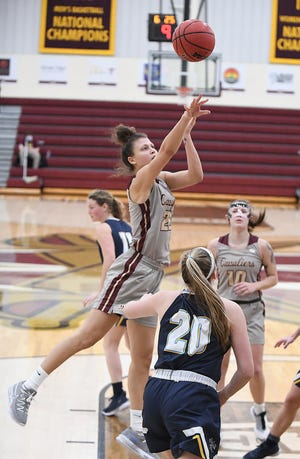 Walsh's Mayci Sales, shown here in a game earlier this season, scored a team-high 25 points in the Cavaliers' 92-84 overtime loss to Findlay on Sunday.