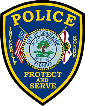 The badge logo of the Bradenton Police Department.