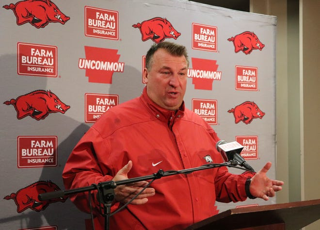 Bret Bielema speaks with reporters at Razorback Stadium in Fayetteville, Ark. in 2017. Bielema is returning to the Big Ten and his home state to coach Illinois. [KELLY P. KISSEL/FILE, THE ASSOCIATED PRESS]