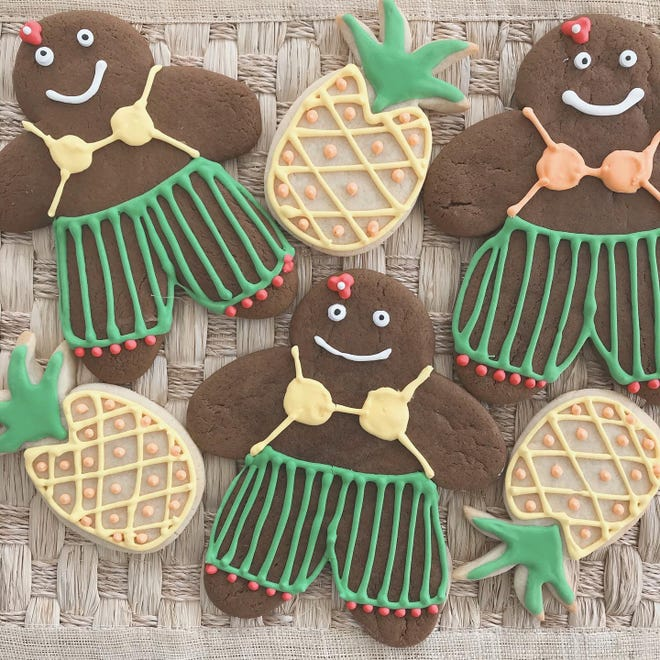 """Diver Surf City is hosting a """"12 Days of Christmas Cookies"""" event until Christmas Eve. Look for choices like these Kalikimaka Gingerbread cookies and pineapple sugar cookies."""