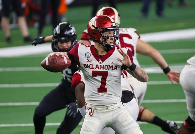 Oklahoma quarterback Spencer Rattler throws  during the first half against Iowa State in the Big 12 title game.
