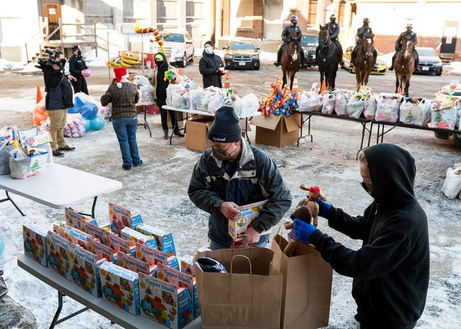 """After production wrapped on the upcoming film """"Black Friday,"""" two truckloads of new toys used on the set were donated to Westerman's Restaurant Equipment and Prop House and given to families in need Saturday in Worcester."""