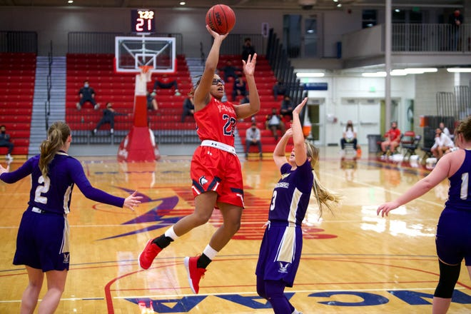 Colorado State University Pueblo's Aubrey Robinson goes in for a layup against Westminster on December 18, 2020 at Massari Arena