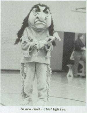 """A photo of from the 1986 Lamar High School yearbook of the former live mascot """"Chief Ugh Lee."""""""