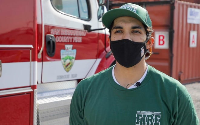 Haroon Hasmain, an Endeavor Hand Crew member, speaks in a San Bernardino County video about being hired on to the fire department.