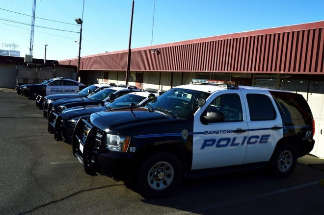 Barstow Police Department vehicles.