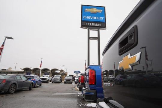 Vehicles in the lot at Feldman Chevrolet of Livonia on December 18, 2020.