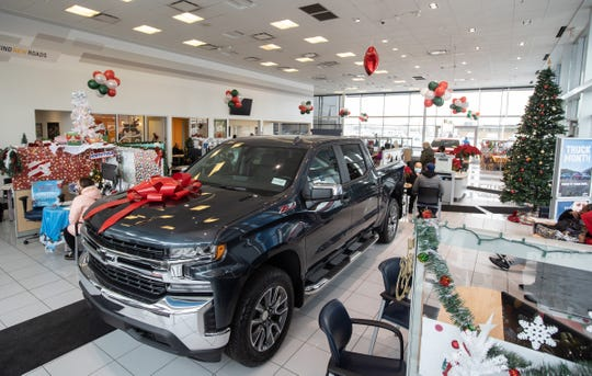 A 2021 Chevrolet Silverado Crew LT 4WD in the showroom at Feldman Chevrolet of Livonia on December 18, 2020.