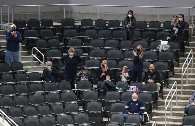 Butler Bulldogs fans watch the first half of the Crossroads Classic game at Bankers Life Fieldhouse in Indianapolis on Saturday, Dec. 19, 2020.