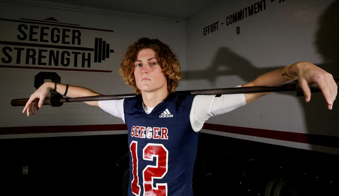 Seeger's Khal Stephen is the 2020 Journal & Courier Small School Defensive Football Player of the Year.
