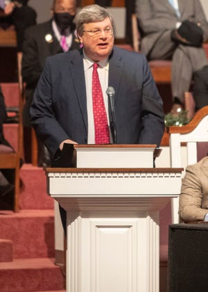 Mayor Jim Strickland speaks at civic and community  celebration of Dr. James Lavirt Netters Sr., at Mount Vernon Baptist Church Westwood in Memphis, Tenn., on Saturday, December 19, 2020.