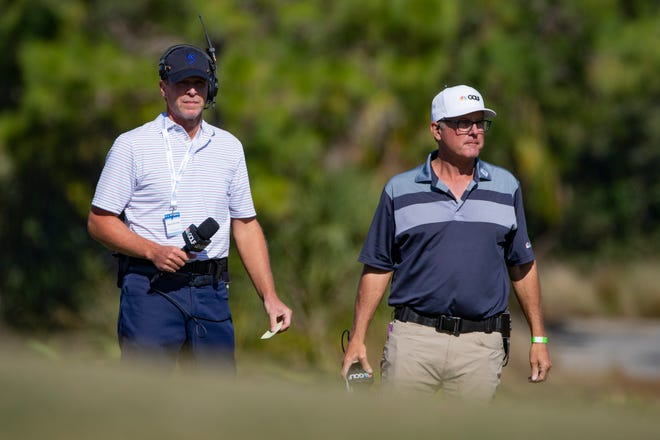 Golf Channel's Steve Stricker, left, and Jerry Foltz provided live analysis from the field during the third round at the CME Group Tour Championship, Saturday, Dec. 19, 2020, at the Tiburon Golf Club in North Naples, Florida.