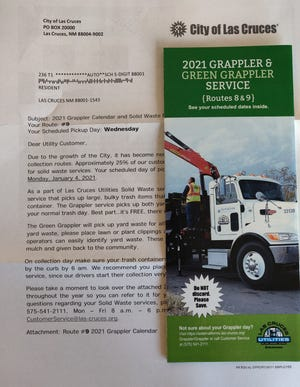 Las Cruces Utilities reminds residents to check their Grappler mailing in December. Some Las Cruces customers will have a new trash pickup day for their Solid Waste, Grappler and recycling in January 2021.