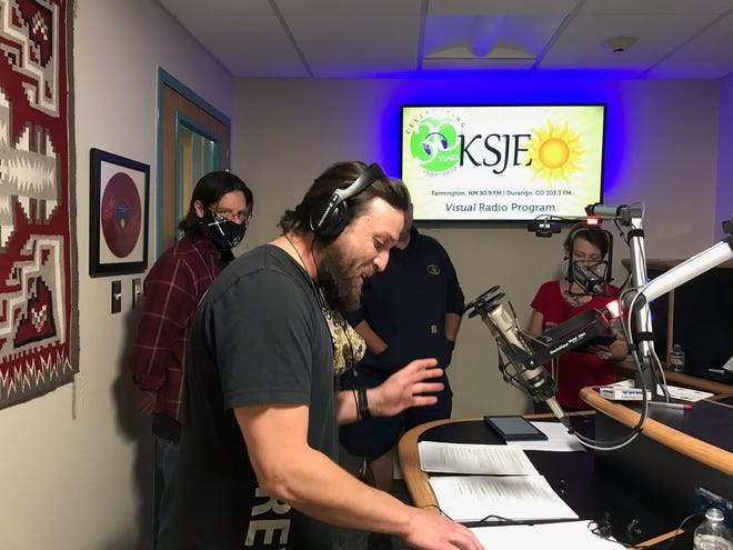 """Actor Dan Cabrera performs during the taping of the Theater Ensemble Arts production of """"A Christmas Carol"""" that will be broadcast three times on KSJE-FM over the holidays."""
