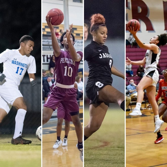 BTW's Kendrick Hernandez (left), PHS' Caleb Young (second from left), West Florida's Madison Dulay (second from right) and Navarre's Rachel Leggett (right) are  this week's PNJ AOTW nominees.