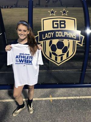 Gulf Breeze sophomore midfielder Meredith Pugh - PNJ Athlete of the Week, December 2020