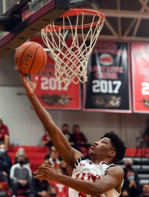 Brandon Valley's Jackson Hilton makes a basket on Friday, December 18, at Brandon Valley High School.