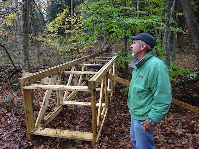 David Yanchunas works on one of the Mohican Trail Club's many projects in this photo taken in 2013.