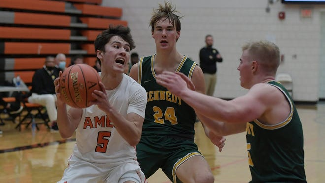 Casey Mumm, seen here competing against Cedar Rapids Kennedy in December, went for 13 points, four steals and three assists for the No. 7 Ames boys' basketball team in a losing effort against Marshalltown Tuesday at Marshalltown. The Little Cyclones fell, 52-42.