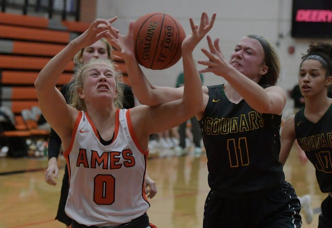 Ames' Ireland Buss, seen here competing against Cedar Rapids Kennedy in December, stepped up with 12 points, six rebounds and four assists in Tuesday's 54-13 win at Marshalltown.
