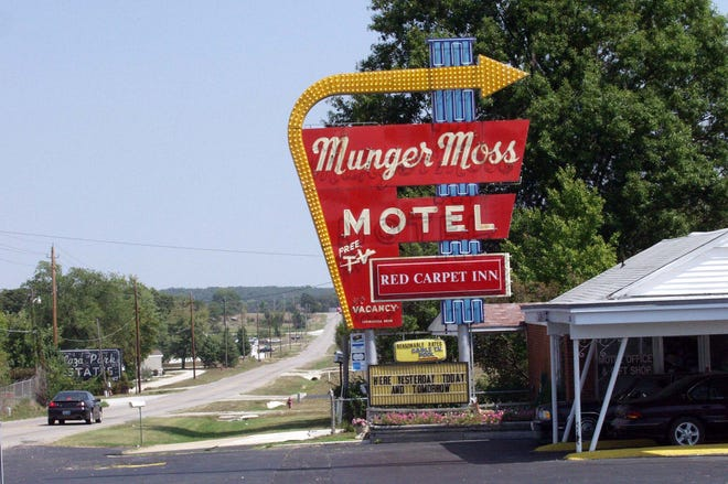 Historic Route 66 runs in front of the Munger Moss Motel in Lebanon, Missouri, in 2002.