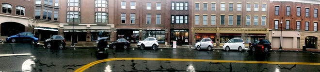 A panoramic view of the shops on the north side of West Liberty street in downtown Wooster.