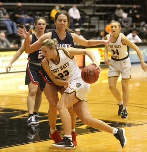 In this file photo, Fort Hays State's Katie Wagner drives inside vs. Rogers State at Gross Memorial Coliseum.