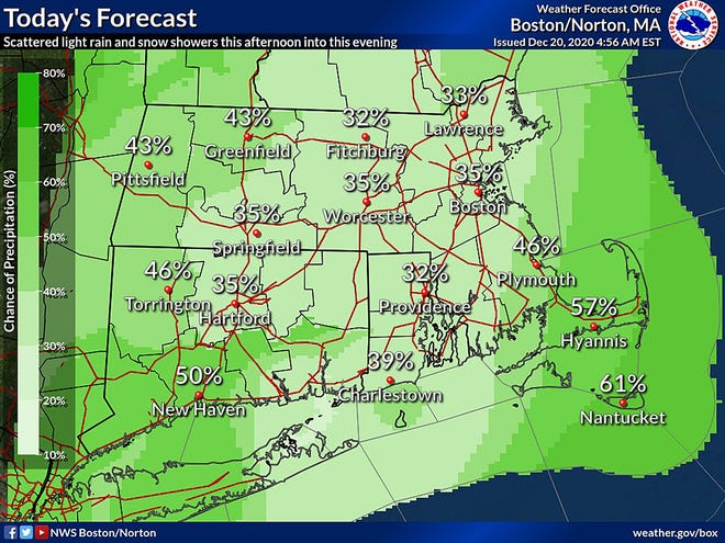 Chance of precipitation for Sunday. Scattered rain and snow showers Sunday afternoon into evening,